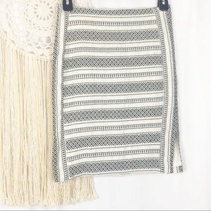 LOFT Aztec Geometric Mini Fitted Skirt Back Zip 6